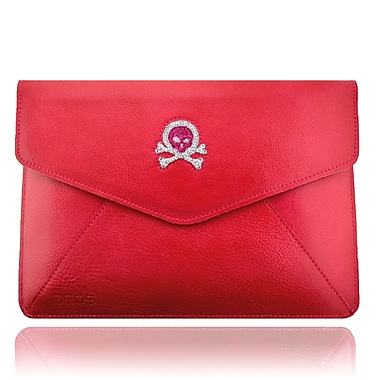 Deos SWAROVSKI Large Tech Clutch Case With Pink and White Crystal Skull For iPad, Pink