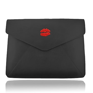 Deos SWAROVSKI Large Tech Clutch Case With Light Siam Crystal Lips For iPad, Black