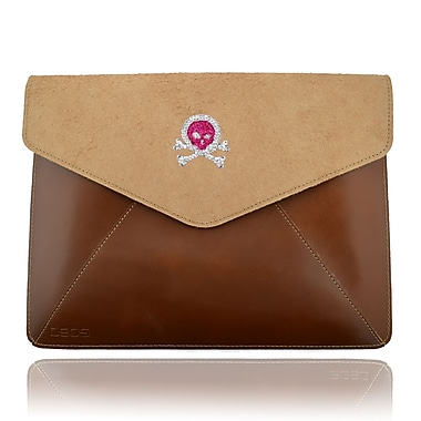 Deos SWAROVSKI Large Tech Clutch Case With Ruby and White Crystal Skull For iPad, Brown