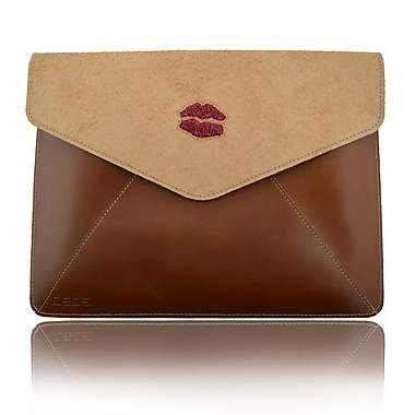 Deos SWAROVSKI Large Tech Clutch Case With Ruby Crystal Lips For iPad, Brown