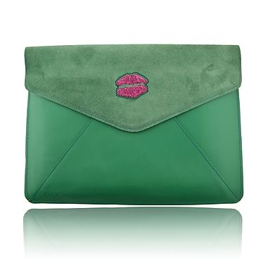 Deos SWAROVSKI Large Tech Clutch Case With Fuchsia Crystal Lips For iPad, Green