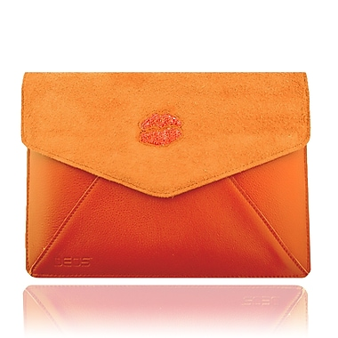 Deos SWAROVSKI Large Tech Clutch Case With Hyacinth Crystal Lips For iPad, Orange