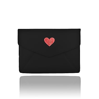 Deos SWAROVSKI Mini Tech Clutch Case With Light Siam Crystal Heart For iPad, Black