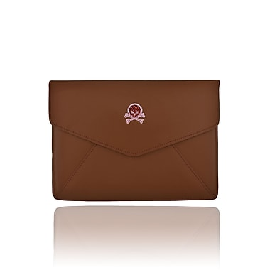 Deos SWAROVSKI Mini Tech Clutch Case With Vintage Rose and Ruby Crystal Skull For iPad, Brown