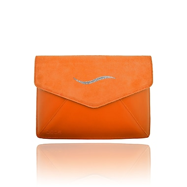 Deos SWAROVSKI Mini Tech Clutch Case With White Crystal Wave For iPad, Orange