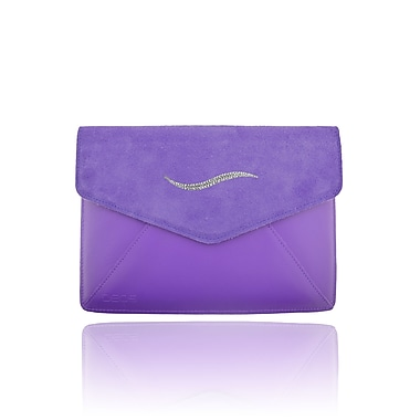 Deos SWAROVSKI Mini Tech Clutch Case With White Crystal Wave For iPad, Purple