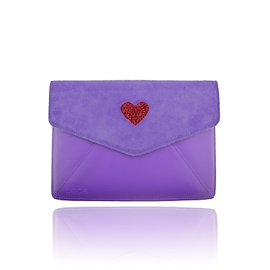 Deos SWAROVSKI Mini Tech Clutch Case With Ruby Crystal Heart For iPad, Purple