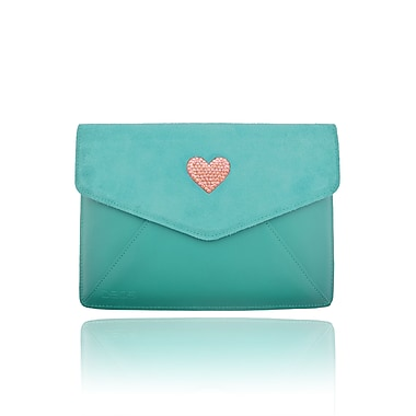 Deos SWAROVSKI Mini Tech Clutch Case With Vintage Rose Crystal Heart For iPad, Teal