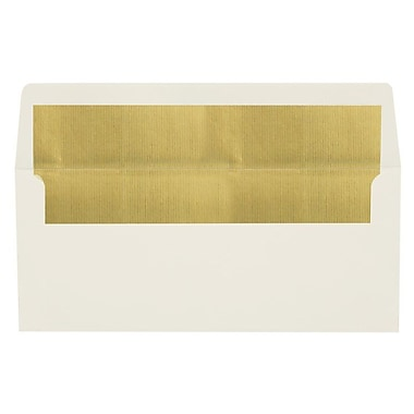 LUX Peel & Press #10 Square Flap Lined Envelopes (4 1/8 x 9 1/2) 250/Box, Natural w/Gold LUX Lining (FLNT4260-04-250)
