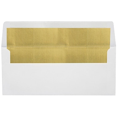 LUX Peel & Press #10 Square Flap Lined Envelopes (4 1/8 x 9 1/2) 50/Pack, White w/Gold LUX Lining (FLWH4260-04-50)