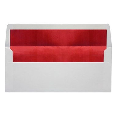 LUX Peel & Press #10 Square Flap Lined Envelopes (4 1/8 x 9 1/2) 1000/Box, White w/Red LUX Lining (FLWH4260-01-100)