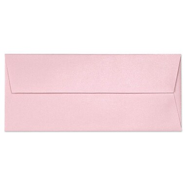 LUX Moistenable Glue #10 Square Flap Envelopes (4 1/8 x 9 1/2) 50/Pack, Rose Quartz Metallic (5360-04-50)