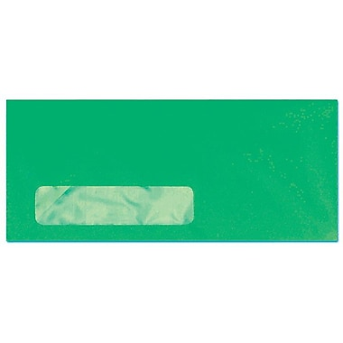 LUX Moistenable Glue #10 Window Envelopes (4 1/8 x 9 1/2) 50/Pack, Bright Green (4261-12-50)