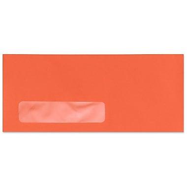 LUX Moistenable Glue #10 Window Envelopes (4 1/8 x 9 1/2) 500/Box, Bright Orange (4261-14-500)