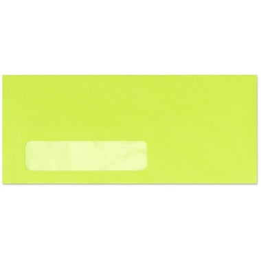 LUX Moistenable Glue #10 Window Envelopes (4 1/8 x 9 1/2) 250/Box, Electric Green (4261-22-250)