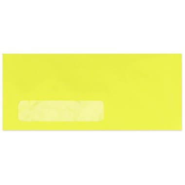 LUX Moistenable Glue #10 Window Envelopes (4 1/8 x 9 1/2) 50/Pack, Electric Yellow (4261-20-50)