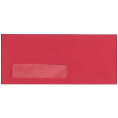 LUX Moistenable Glue #10 Window Envelopes (4 1/8 x 9 1/2) 50/Pack, Holiday Red (4261-15-50)