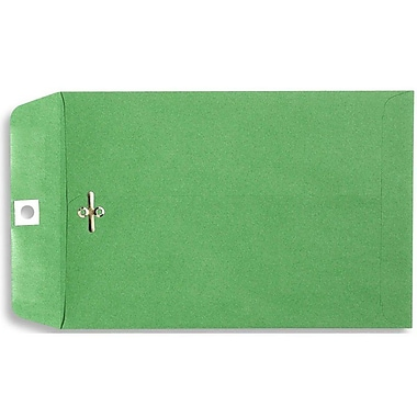 LUX® 10in. x 13in. Open End Clasp Envelopes, Bright Green, 100/Pack