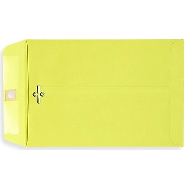 LUX® 10in. x 13in. Open End Clasp Envelopes, Bright Lemon, 100/Pack
