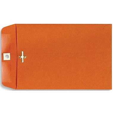 LUX® 10in. x 13in. Open End Clasp Envelopes, Bright Orange, 100/Pack