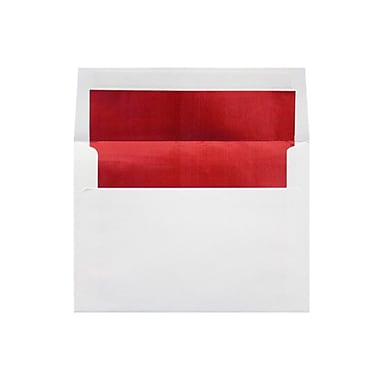 LUX 6 1/2 x 6 1/2 Foil Lined Square Envelopes 50/Box, White w/Red LUX Lining (FLWH8535-01-50)