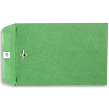 LUX® 6in. x 9in. Open End Clasp Envelopes, Bright Green, 100/Pack