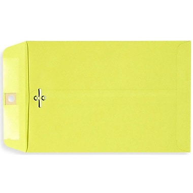 LUX® 6in. x 9in. Open End Clasp Envelopes, Bright Lemon Yellow, 100/Pack