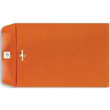 LUX® 6in. x 9in. Open End Clasp Envelopes, Bright Orange, 100/Pack