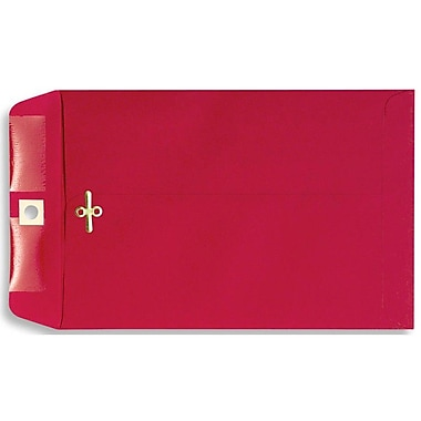 LUX® 6in. x 9in. Open End Clasp Envelopes, Holiday Red, 100/Pack