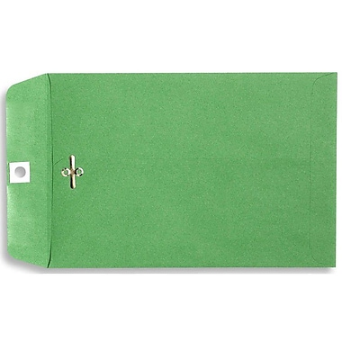 LUX® 9in. x 12in. Open End Clasp Envelopes, Bright Green, 100/Pack