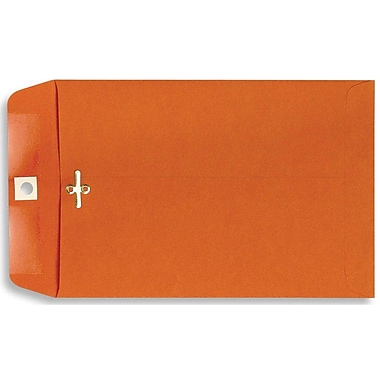 LUX® 9in. x 12in. Open End Clasp Envelopes, Bright Orange, 100/Pack