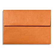 "LUX® 4 3/8"" x 5 3/4"" 80lbs. A2 Invitation Envelopes W/Glue, Flame Metallic Orange, 50/Pack"