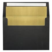 "LUX® 80lbs. 4 1/4"" x 6 1/4"" A4 Photo, Invitation Envelopes W/Peel & Press, Black/Gold LUX, 250/BX"
