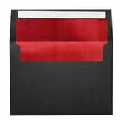 "LUX® A4 (4 1/4"" x 6 1/4"") Envelopes, Black/Red LUX Lining, 250/BX"