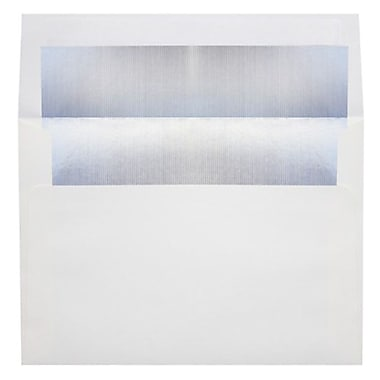LUX A6 Foil Lined Invitation Envelopes (4 3/4 x 6 1/2) 250/Box, White w/Silver LUX Lining (FLWH4875-03-250)