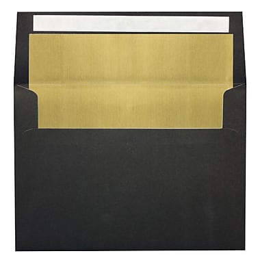 LUX A7 Foil Lined Invitation Envelopes (5 1/4 x 7 1/4) 500/Box, Black w/Gold LUX Lining (FLBK4880-04-500)