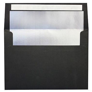 LUX A7 Foil Lined Invitation Envelopes (5 1/4 x 7 1/4) 250/Box, Black w/Silver LUX Lining (FLBK4880-03-250)