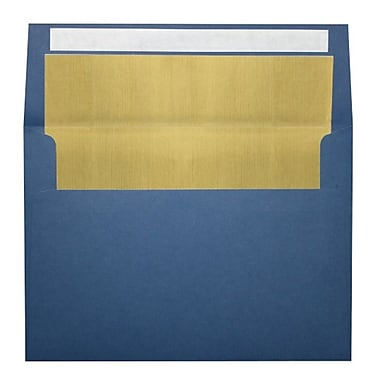 LUX A7 Foil Lined Invitation Envelopes (5 1/4 x 7 1/4) 100/Box, Navy w/Gold LUX Lining (FLNV4880-04-100)