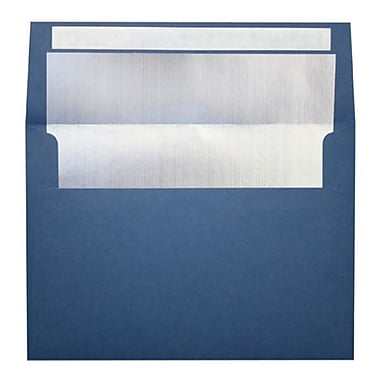 LUX A7 Foil Lined Invitation Envelopes (5 1/4 x 7 1/4) 100/Box, Navy w/Silver LUX Lining (FLNV4880-03-100)