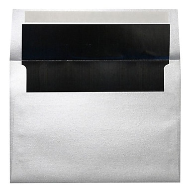LUX A7 Foil Lined Invitation Envelopes (5 1/4 x 7 1/4) 250/Box, Silver w/Black LUX Lining (FLSL4880-02-250)
