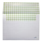 "LUX® 5 1/4"" x 7 1/4"" 70lbs. Square Flap A7 Envelopes W/Peel & Press, Green Gingham"