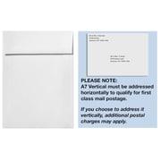 "LUX® 7 1/4"" x 5 1/4"" 70lbs Square Flap Vertical Envelopes W/Peel & Press, Bright White"