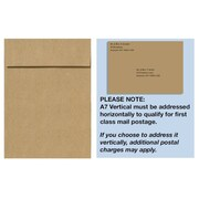 "LUX® 7 1/4"" x 5 1/4"" 80lbs. Square Flap Vertical Envelopes W/Peel & Press, Grocery Bag Brown"