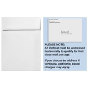 LUX A7 Vertical Invitation Envelopes (7 1/4 x 5 1/4) 50/Box, White - 100% Recycled (4880V-WPC-50)