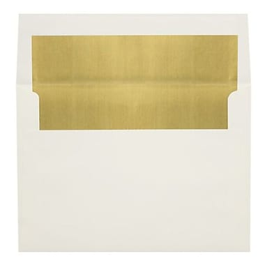 LUX A8 Foil Lined Invitation Envelopes (5 1/2 x 8 1/8) 50/Box, Natural w/Gold LUX Lining (FLNT4885-04-50)
