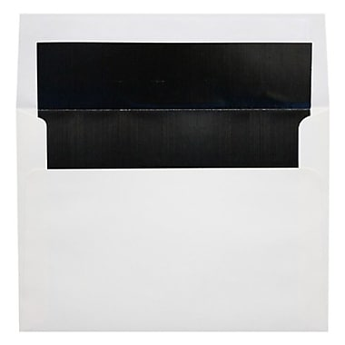 LUX A9 Foil Lined Invitation Envelopes (5 3/4 x 8 3/4) 50/Box, White w/Black LUX Lining (FLWH4895-02-50)