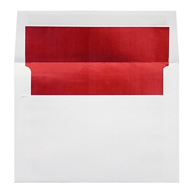 LUX A9 Foil Lined Invitation Envelopes (5 3/4 x 8 3/4) 100/Box, White w/Red LUX Lining (FLWH4895-01-100)