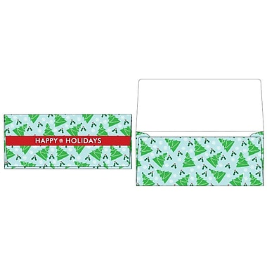 LUX® 2 7/8in. x 6 1/2in. Square Flap Currency Envelopes, Christmas Trees, 50/Pack