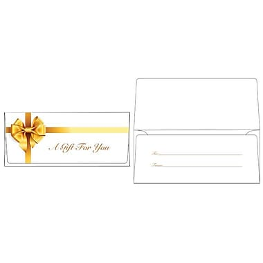 LUX® 2 7/8in. x 6 1/2in. Square Flap Currency Envelopes, Gold Bow, 50/Pack