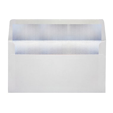 LUX Photo Greeting Foil Lined Invitation Envelopes (4 3/8 x 8 1/4) 1000/Box, White w/Silver LUX Lining (FLWHPHGC-031000)